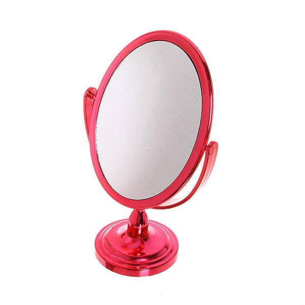 Зеркало настольное на ножке ″Металик - Овал″ цвет в ассортименте, двухстороннее, с увеличением 23,5см купить оптом и в розницу