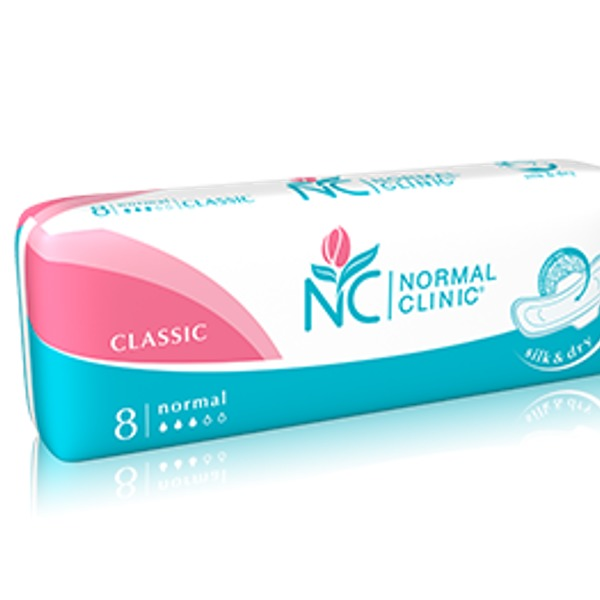 Прокладки женские NORMAL cliniс Classic ″COMFORT″ - silk & dry - 3 капли, 240 мм 8шт купить оптом и в розницу