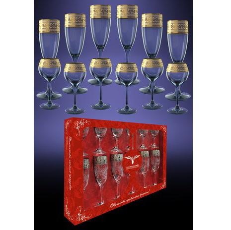 Набор 12 предметов Версаче ″Эдем″: 6 бокалов 170мл, 6 рюмок 65мл купить оптом и в розницу