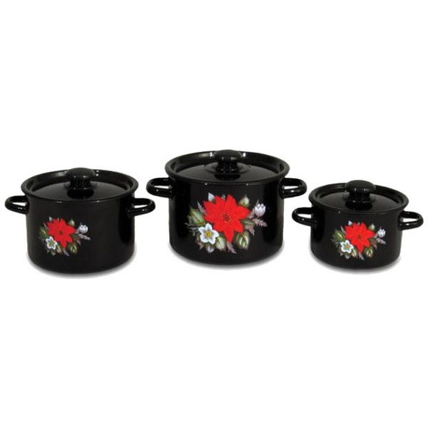 Набор посуды эмалированной 4 предмета ″Красный цветок″ (2л, 3,5л, 5л, чайник 3,5л) №20 7KB201M купить оптом и в розницу