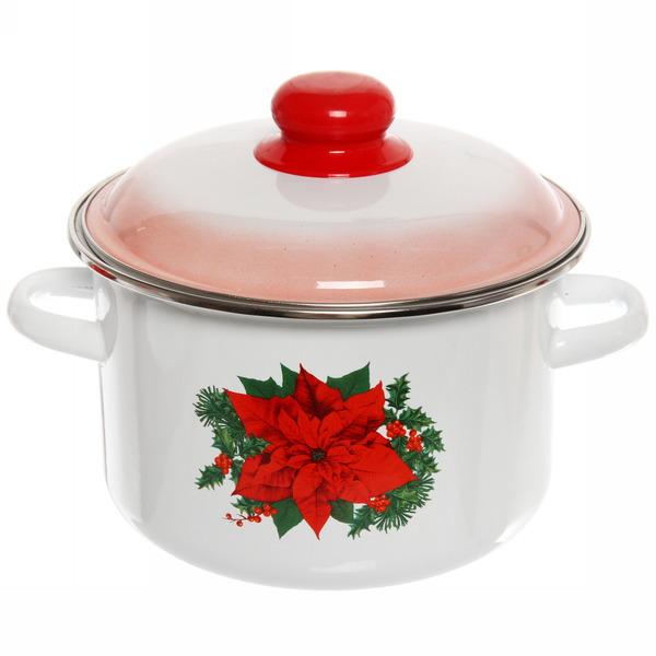 Набор посуды эмалированной 4 предмета ″Красный цветок″ (2л, 3,5л, 5л, чайник 3,5л) №20 купить оптом и в розницу