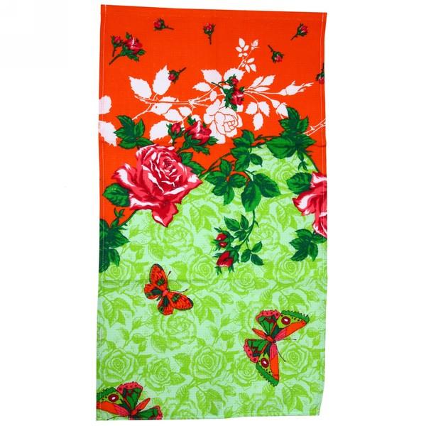 Полотенце вафельное 40*75см ″Розы зеленые″ купить оптом и в розницу