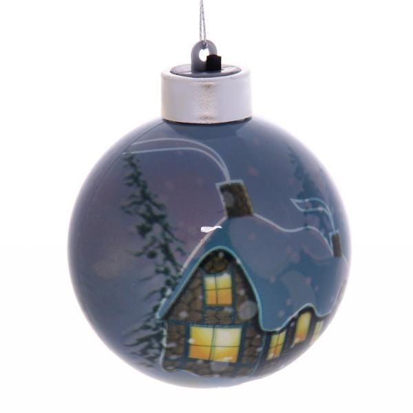 Новогодний шар с подсветкой ″Рождественский домик″ 8 см купить оптом и в розницу