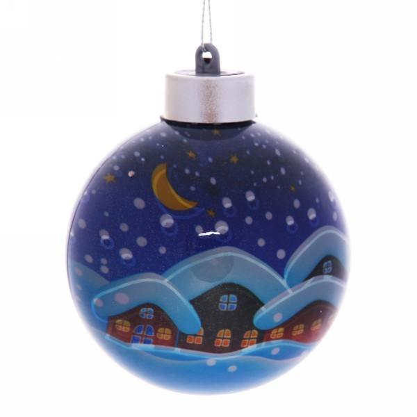 Новогодний шар с подсветкой ″Новогодняя деревенька″ 8 см купить оптом и в розницу