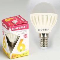 Лампа светодиодная ОНЛАЙТ ОLL-G45-6-230-2.7K-E14 (10/100) купить оптом и в розницу