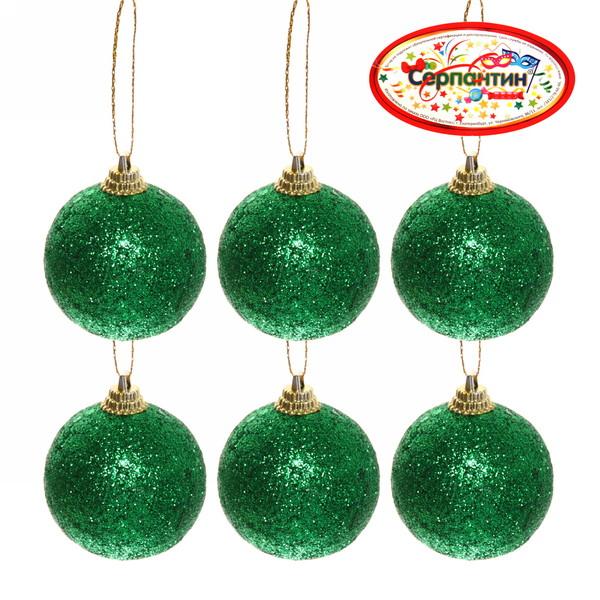 Новогодние шары ″Изумруд″ 6см (набор 6шт.) купить оптом и в розницу