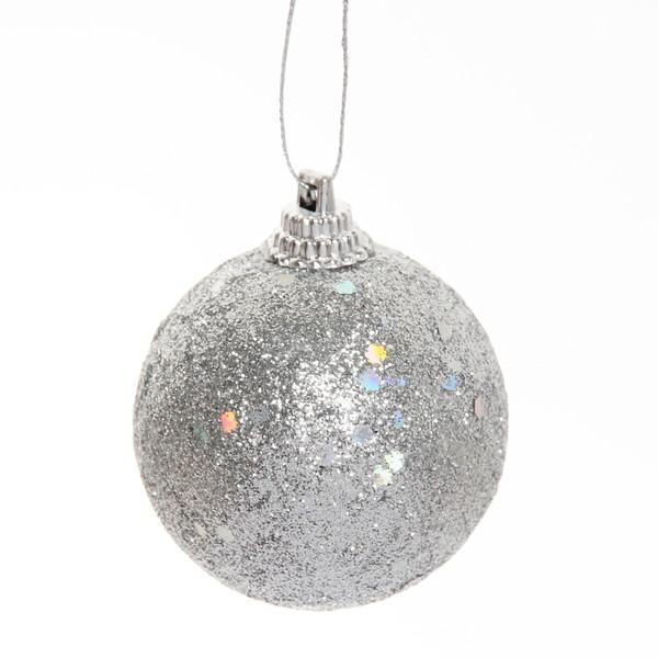 Новогодние шары ″Серебро″ 6см (набор 6шт.). купить оптом и в розницу