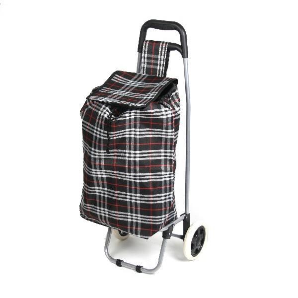 Тележка хозяйственная с сумкой (90*36*32см, колеса 16 см,грузоподъемность до 30 кг) клетчатая DC-306 купить оптом и в розницу
