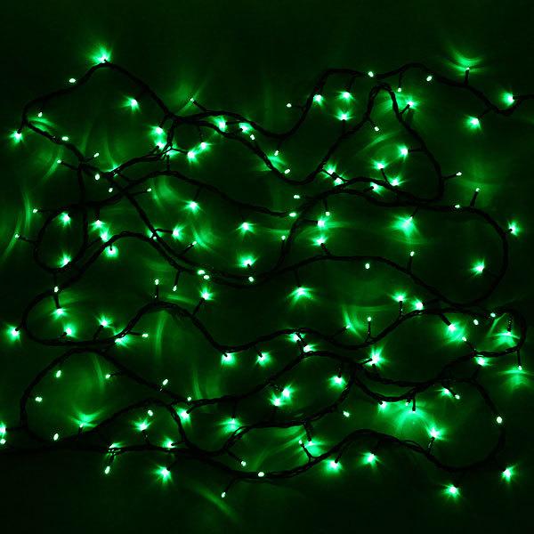 Гирлянда светодиодная уличная 20 м, 300 ламп LED, Зеленый, 8 реж, черн.пров. купить оптом и в розницу