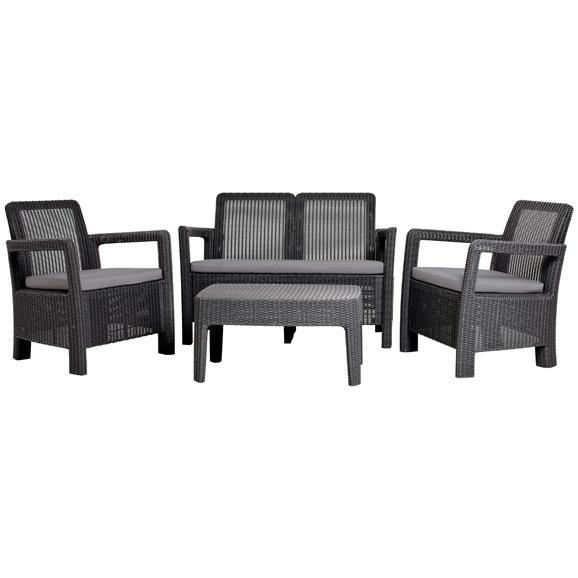 Набор мебели Tarifa(2 стула, диван, стол) темно серый с подушками купить оптом и в розницу
