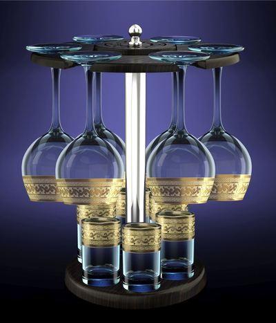 Набор с барной стойкой 13 предметов Версаче ″Эдем″: 6 фужеров 210мл, 6 стопок купить оптом и в розницу