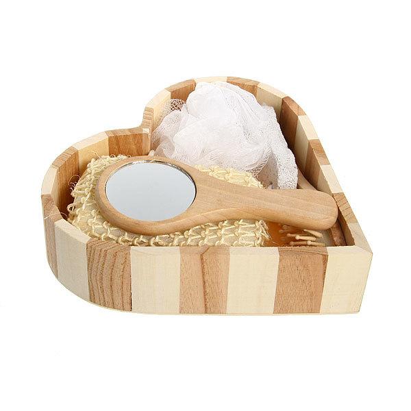 Банный набор в деревянной кадушке из 5 предметов ″В баньку″ (две мочалки, пемза, расческа, зеркало) купить оптом и в розницу
