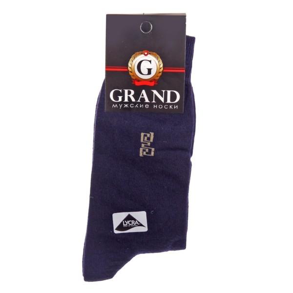 Носки мужские GRAND, рисунок на паголенке, цвет темно-синий р. 25 купить оптом и в розницу