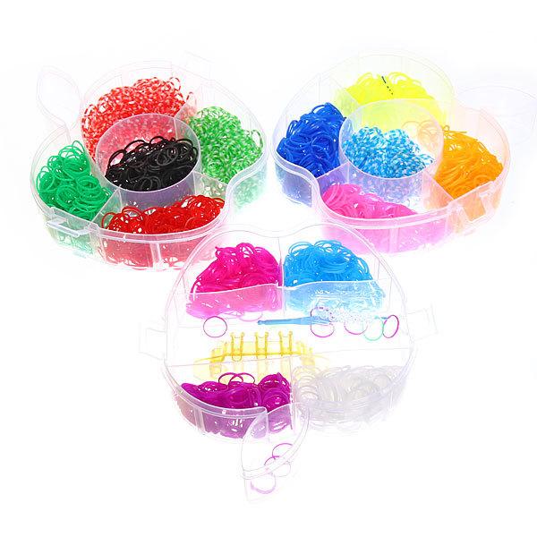 Набор резинок для плетения браслетов 2800шт 12 цветов 3-х ярусный Яблоко купить оптом и в розницу
