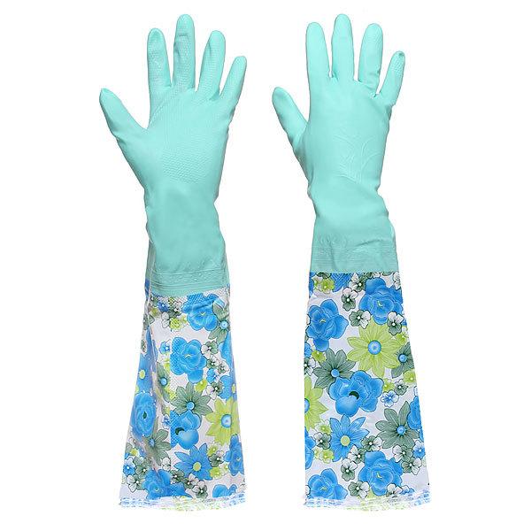 Перчатки хозяйственные резиновые 53см+манжет на застежке + флок купить оптом и в розницу