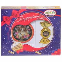 Набор магнит и елочная игрушка-конфетка ″На удачу!″, Жостовская кошка купить оптом и в розницу