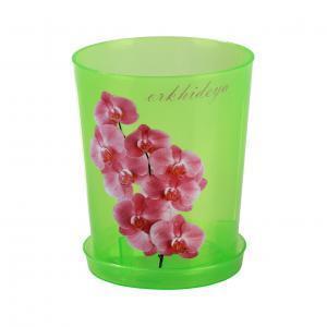 Горшок цв. для орхидеи 1,2л.с под.(зел.прозр)(уп40) (Октябрьский) купить оптом и в розницу