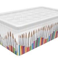 Контейнер для хран. 5,7 л TEXTILE LINE Paint brushes/*7 (34,3х19,5х12,5)см Curver купить оптом и в розницу