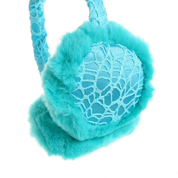 Наушники меховые, ажурный ободок, цвет голубой купить оптом и в розницу