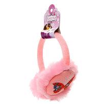 Наушники меховые, текстильный ободок, со стразами, цвет нежно-розовый купить оптом и в розницу