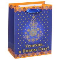 Пакет 14х18 см премиум с золотом ″Успехов в Новом году!″, Торжество, вертикальный купить оптом и в розницу
