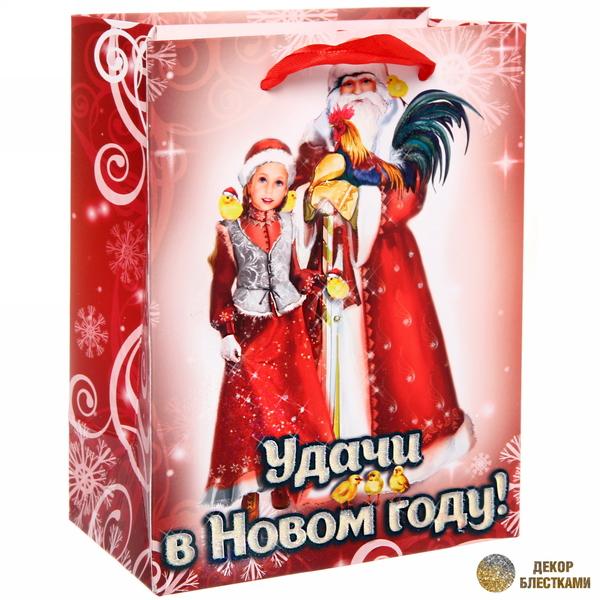 Пакет 14х18 см усиленный с блестками ″Удачи в Новом году!″, Дед Мороз и внучка, вертикальный купить оптом и в розницу