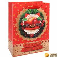 Пакет подарочный 18х23 см вертикальный ″Богатства и процветания!″, Яблочный праздник купить оптом и в розницу