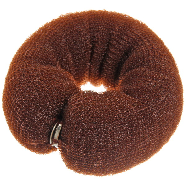 Заколка-валик для создания пучка на кнопке, цвет коричневый купить оптом и в розницу