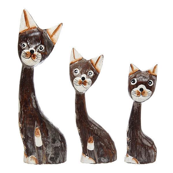 Фигурки из дерева ″Кошки 3шт″, 25,20,15 см купить оптом и в розницу