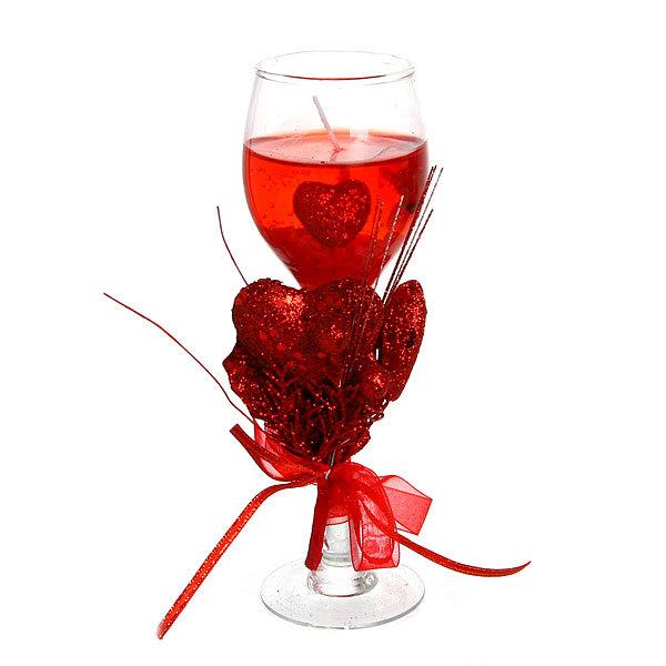 Свеча гелевая ″Сердечная″ 19 см красная 6019 Q купить оптом и в розницу