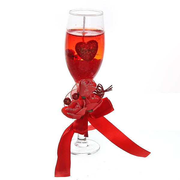 Свеча гелевая ″Сердечная″ 19 см красная 8060 B купить оптом и в розницу