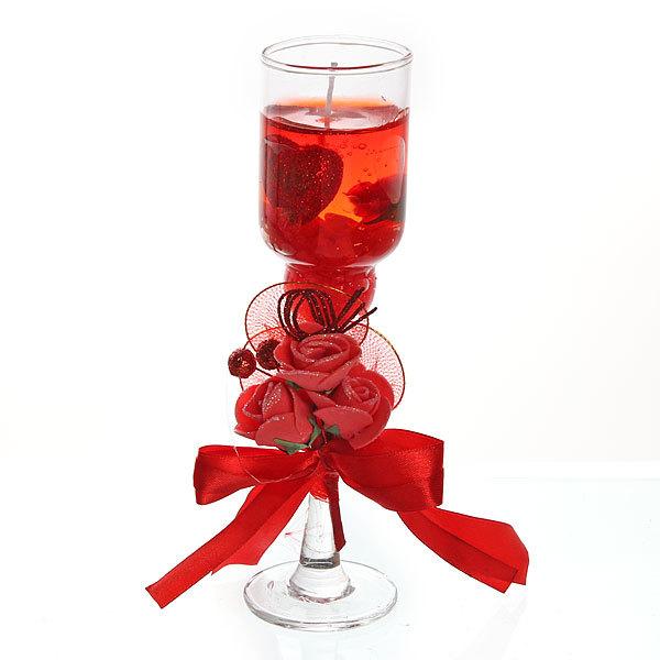 Свеча гелевая ″Сердечная″ 18.5 см красная 8019 Z купить оптом и в розницу