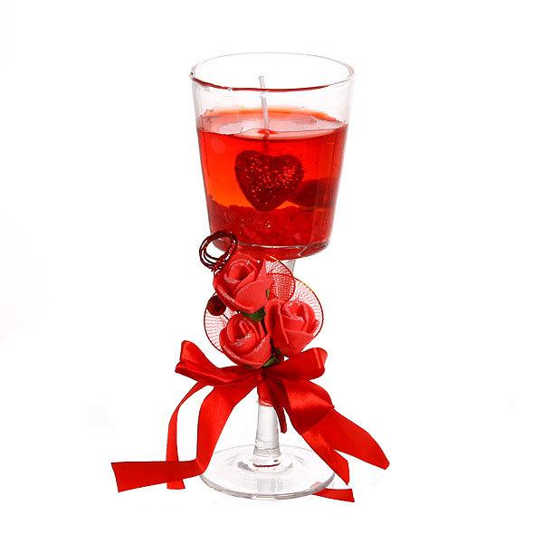 Свеча гелевая ″Сердечная″ 21 см красная 8020 T купить оптом и в розницу