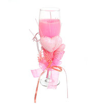 Свеча гелевая ″Сердечная″ 19 см розовая 6560 В купить оптом и в розницу
