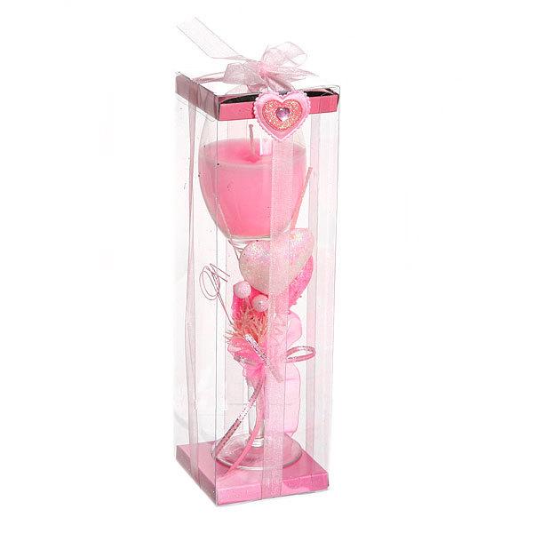 Свеча гелевая ″Сердечная″ 23 см розовая 6538 B купить оптом и в розницу