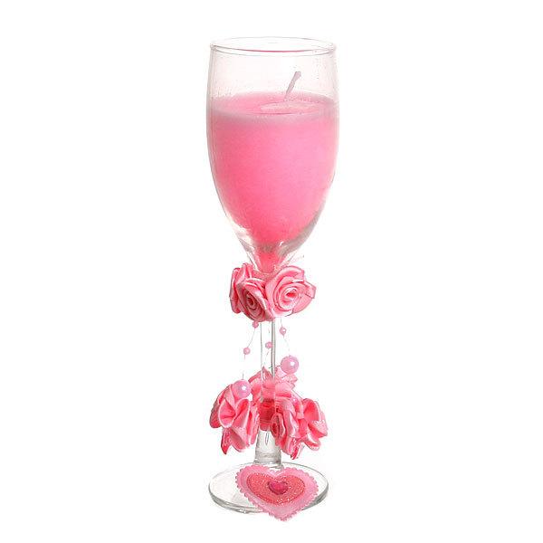 Свеча гелевая ″Сердечная″ 20 см розовая 6660 B купить оптом и в розницу