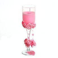 Свеча гелевая ″Сердечная″ 20 см розовая 6619 Z купить оптом и в розницу