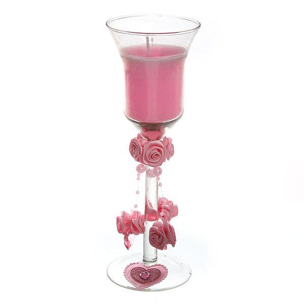 Свеча гелевая ″Сердечная″ 21 см розовая 6620 L купить оптом и в розницу