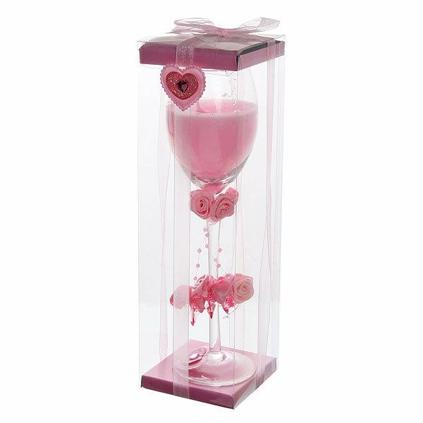 Свеча гелевая ″Сердечная″ 23 см розовая 6638 B купить оптом и в розницу