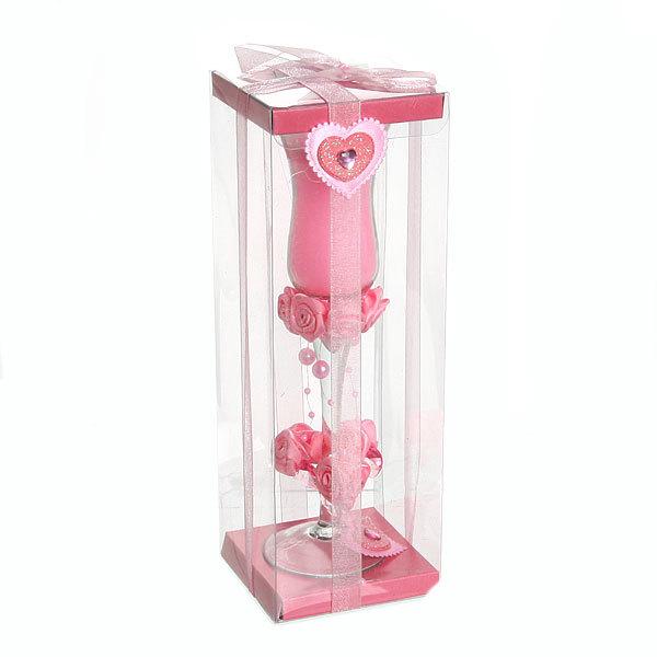 Свеча гелевая ″Сердечная″ 20 см розовая 6660 Y купить оптом и в розницу