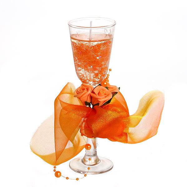Свеча гелевая ″Сердечная″ 19,5 см оранжевая 8519 T купить оптом и в розницу