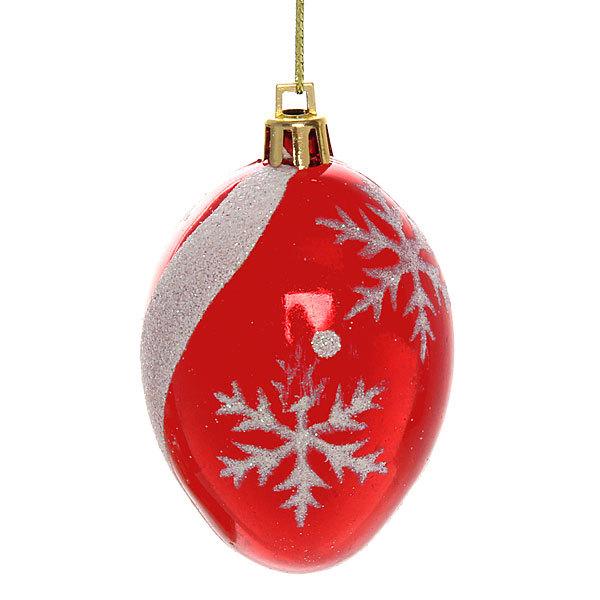 Ёлочные игрушки, набор 6шт, 6*4см″Капля снежинки″ красный купить оптом и в розницу