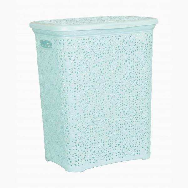 Кружевная корзинка для белья   лазурь  (412 х 320 х 485 )  40 л.*6 купить оптом и в розницу