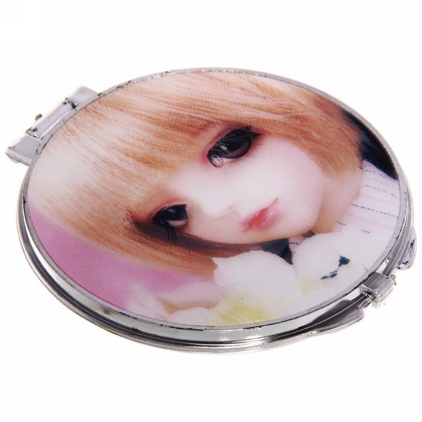 Зеркало косметическое переливающееся ″Куколка″ круг d-6,5см купить оптом и в розницу
