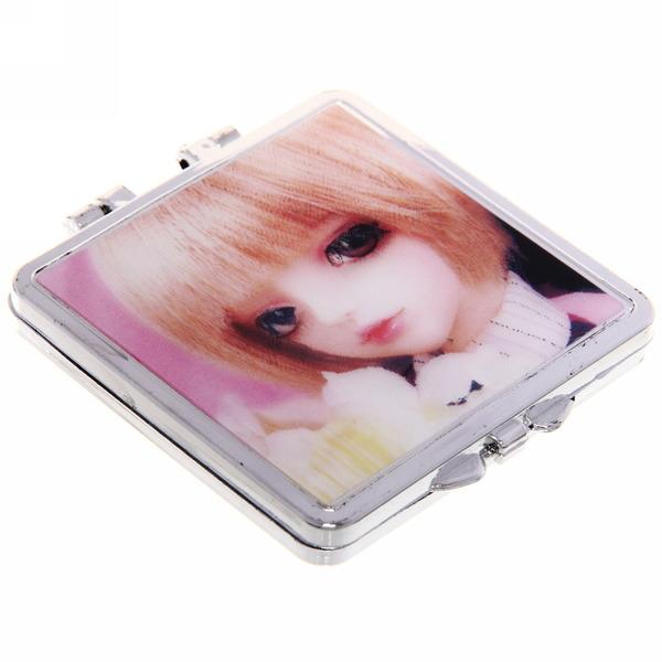 Зеркало косметическое переливающееся ″Куколка″ квадрат 6*6см купить оптом и в розницу