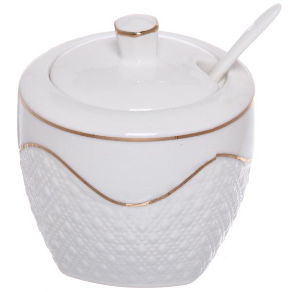Сахарница керамическая 350мл ″Версаль″ золтая кайма купить оптом и в розницу