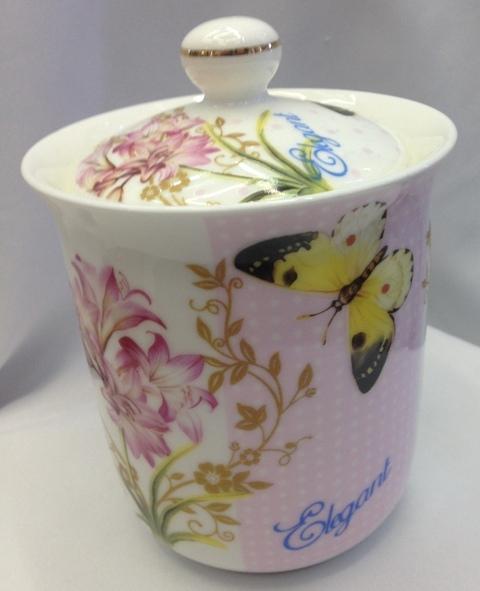 Банка для сыпучих продуктов ″Бабочки″ 800мл, керамика BY-5014М купить оптом и в розницу