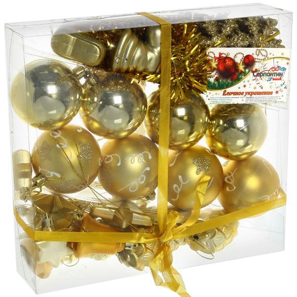 Елочные игрушки, набор 51 шт ″Праздничное ассорти″ золото купить оптом и в розницу