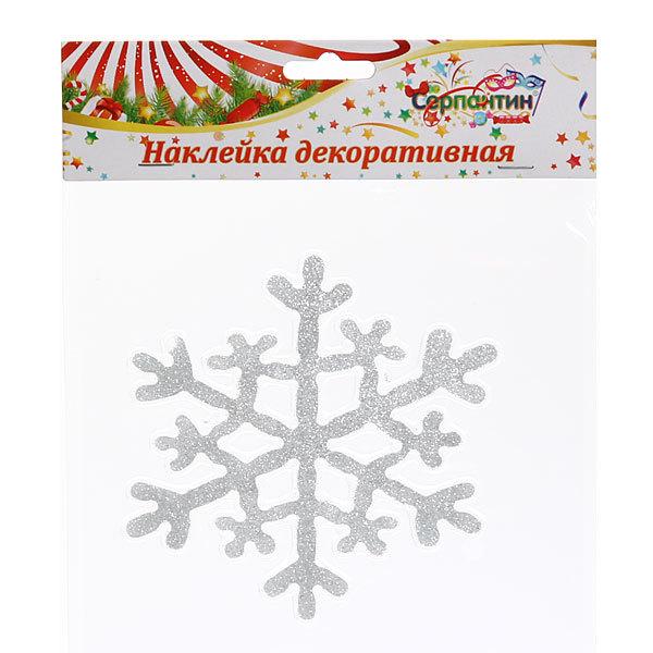 Наклейка на стекло 15см,″Снежинка блеск″ ВА220 купить оптом и в розницу
