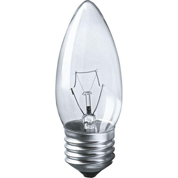 Лампа накаливания Navigator NI-В-60Вт-E27-230В-CL прозрачн.свеча (10/100) купить оптом и в розницу